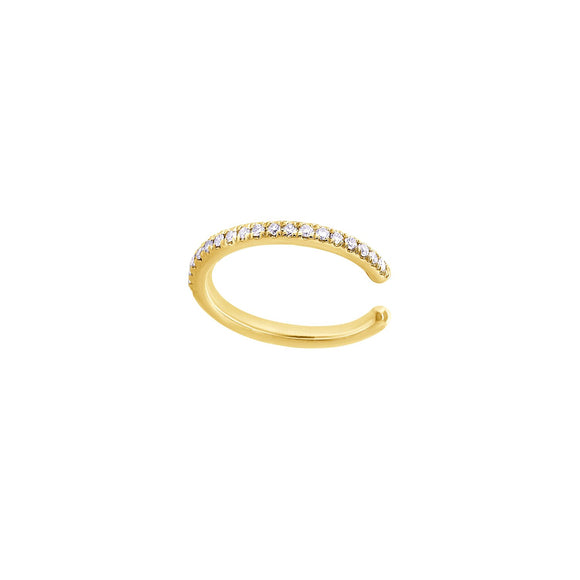 Pave Diamond & Gold Ear Cuff