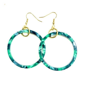 Tortoise Resin Shape Drop Earrings