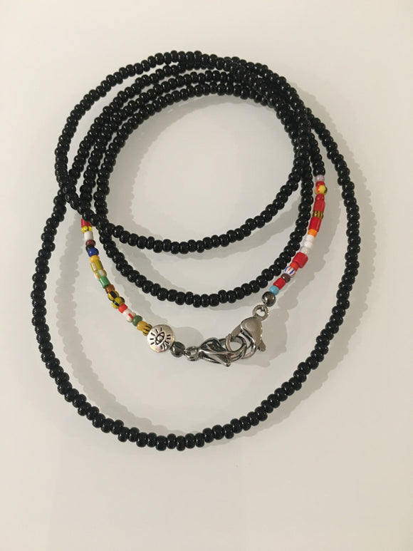 Black Glass Crystals w/ Multi-Colored Ends Mask Chain