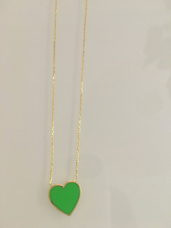 Neon Enamel Heart Necklace
