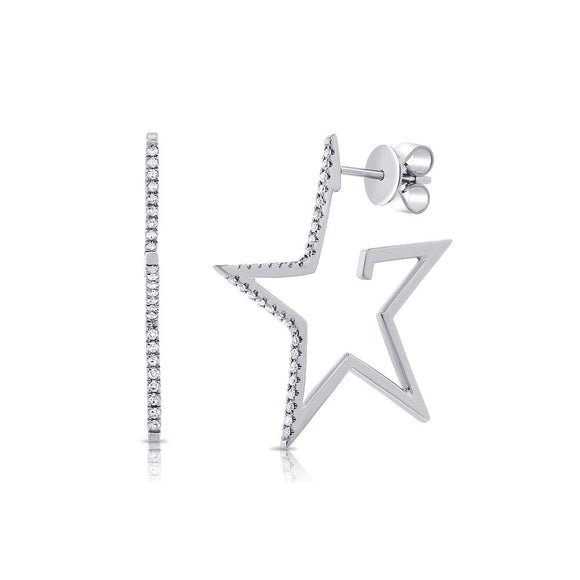 Superstar 14K Gold and Diamond Star Hoop Earrings