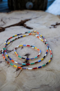 Multicolored Czech Glass Tube and Sterling Silver Beads Choker