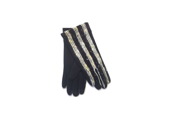 Speckle Stripe Embroidery Gloves