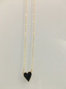 Black Enamel Heart Necklace