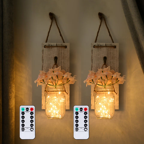 Rustic Remote Controlled Hanging Mason Jar Lights - Parent Decor
