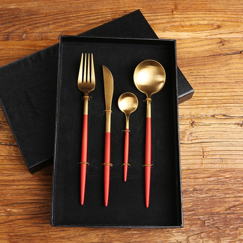 4 pcs Stainless Steel Cutlery Set in Red & Gold - Parent Decor