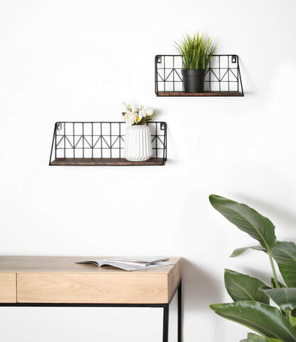 Rustic Metal Wire Wall Mounted Floating Shelves - Parent Decor