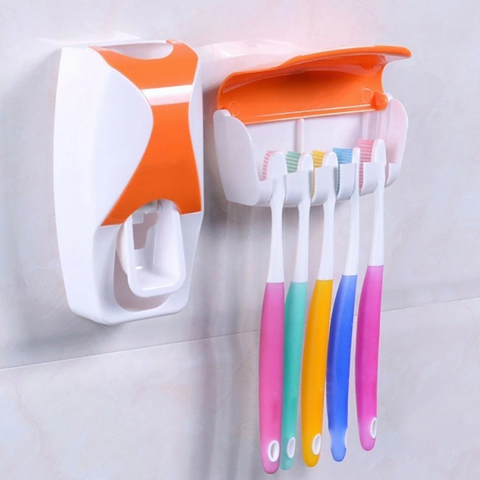 Bathroom Wall Mount Automatic Toothpaste Dispenser 5 Toothbrush Holder - Parent Decor