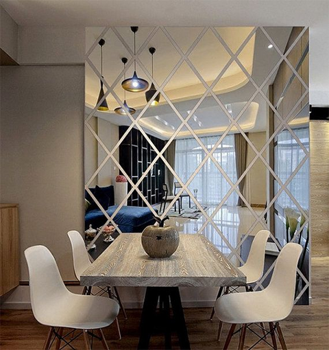 Diamond Pattern Decor Mirror Wall Sticker Mural - Parent Decor