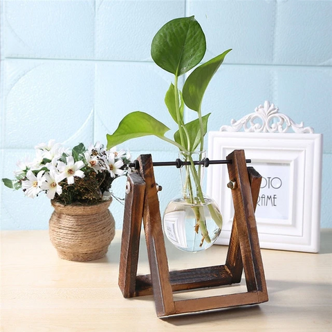 Table Top Glass Hanging Terrarium With Wooden Tray - Parent Decor