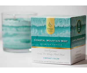 Coastal Mountain Mist Scented Candle, Vibrant Color, Box