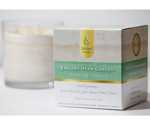 English Herb Garden Scented Candle, Natural Color, Box