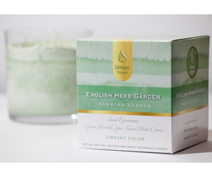 English Herb Garden Scented Candle, Vibrant Color, Box
