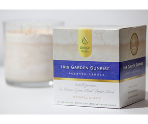 Iris Garden Sunrise Scented Candle, Natural Color, Box