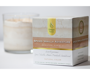 Spiced Vanilla Adventure Scented Candle, Natural Color, Box