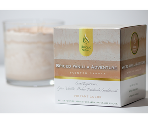 Spiced Vanilla Adventure Scented Candle, Vibrant Color, Box