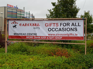 Image is of our banner sign outside the Tesco Centre in Naas, County Kildare, home of the Carousel Gifts, it is a call to action to shop in-store or on-line