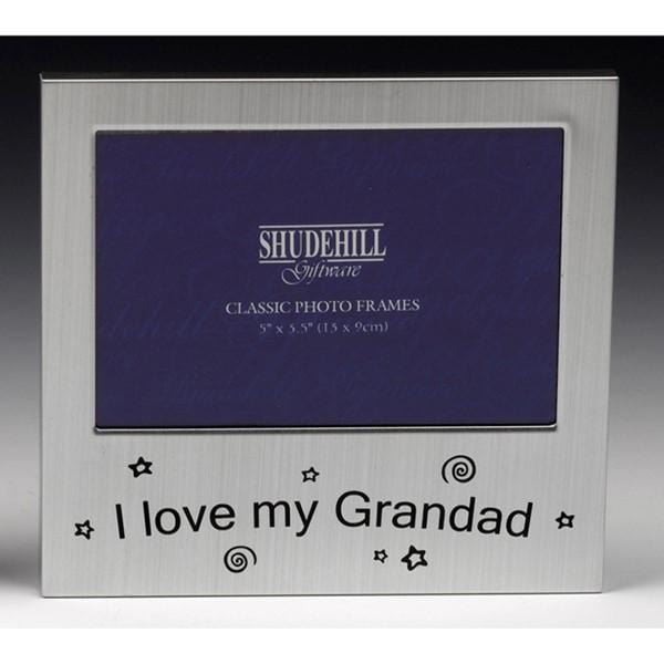 "Picture shows a sliver frame suitable for "" 5 x 5.5""  picture, with the message I love my Grandad.   Birthday Grandchild Grandchildren"