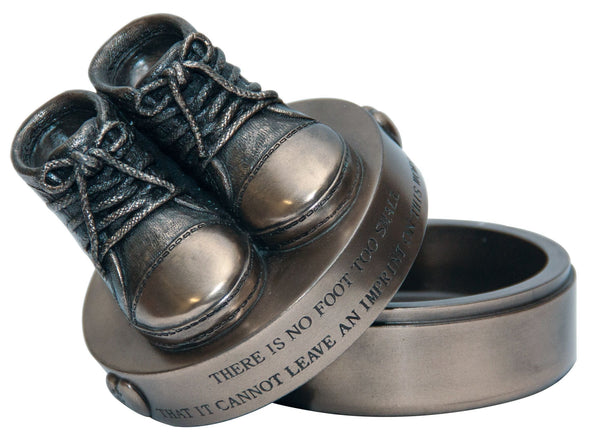This Genesis piece is a baby trinket keepsake box. with a pair of resin Booties on the lid, along with an inscription.