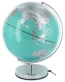 20cm Turquoise light up globe on a silver stand
