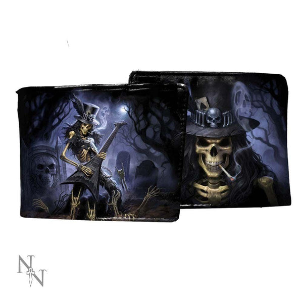 Fantasy wallet with zip compartment.  Pictures shows two sides of the wallet with a skeletal rocker playing an electric guitar on one side and  a close up if his face on the other, from Nemesis Now