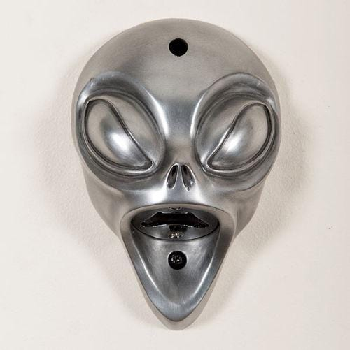 Beer Buddy Alien silver wall mounted beer bottle opener. Can be used inside and out