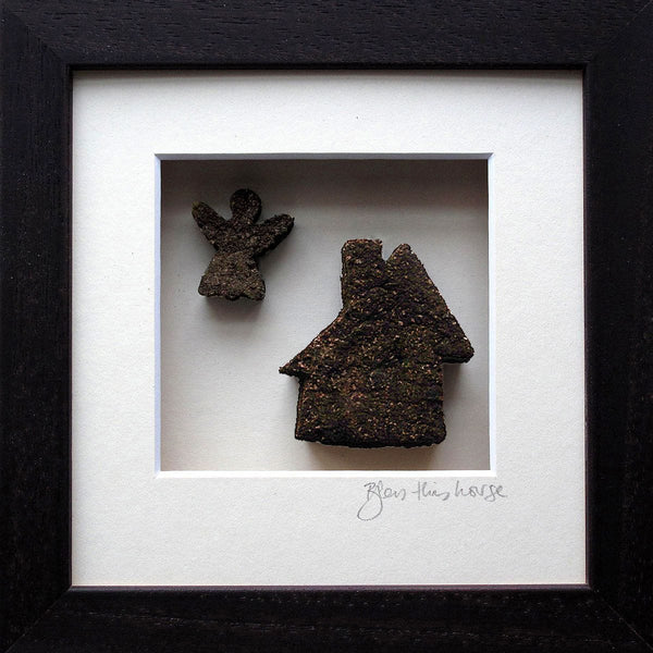 Bog Buddies frame bless this house is a piece of bog shaped into a house and guardian angel handmade in ireland