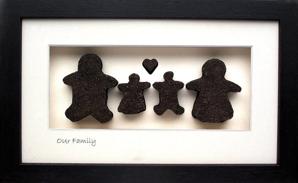 "Bog Buddies Family 2 + "" frame is 4 pieces of bog with mother father and two children hanamade in Ireland"