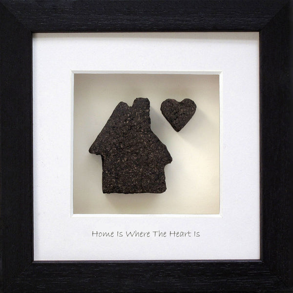 Bog buddies home is where the heart is frame has a piece of bog shape of a house. handmade in Ireland