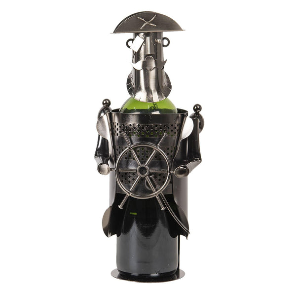 Bottle holder captaim is a figurine of a captain with hat  beard and eye patch holding a ships wheel