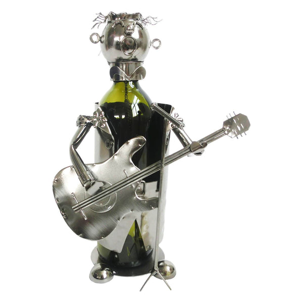 bottle holder is a guitarist holding a guitar singing into a microphone