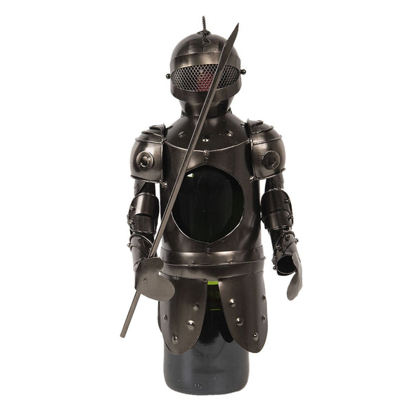 Bottle holder Knight is holding a spear wearing a face guard