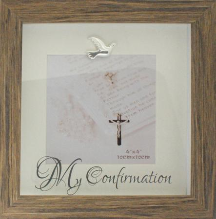 Confirmation Frame wood effect with dove and My Confirmation 4 x6 photo size