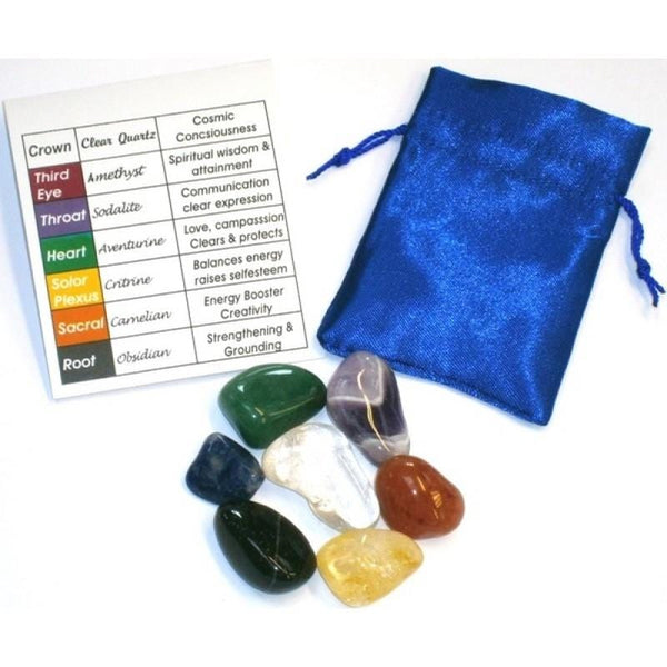 seven chakra stones with bag