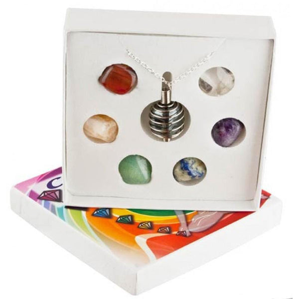 chakra pendant kit has the seven stones of chakra comes with a spira; cage and chain