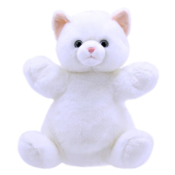 cuddly tums white cat hand puppet