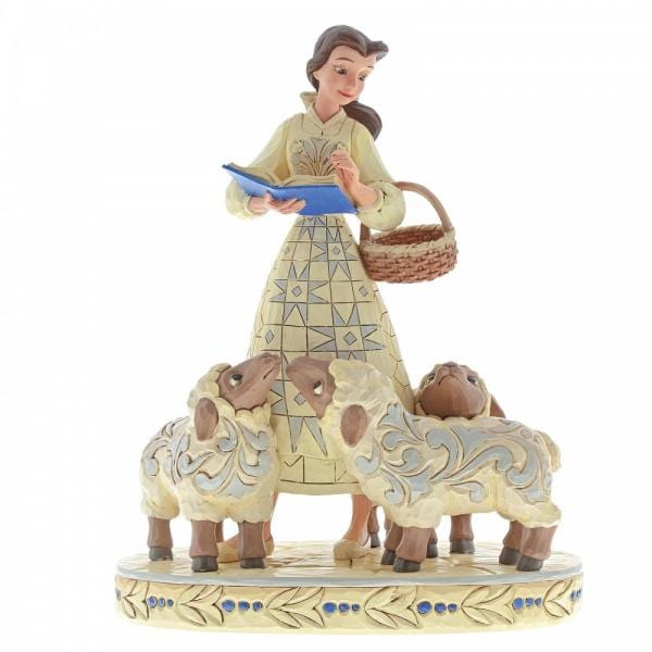 This Disney figurine features Belle from Beauty and the Beast, with a wicker basket in the crook of her arm, and a book with a blue cover in her right hand surrounded by three little lambs