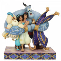 Disney Aladdin and friends with Genie giving everyone a big hug