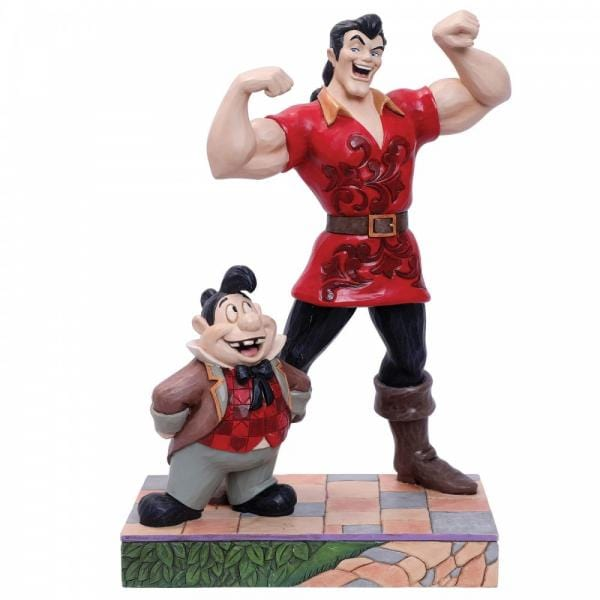 Scene from the Disney movie Beauty and the Beast, featuring Muscle Bound Menace Gaston with his sidekick Lefou
