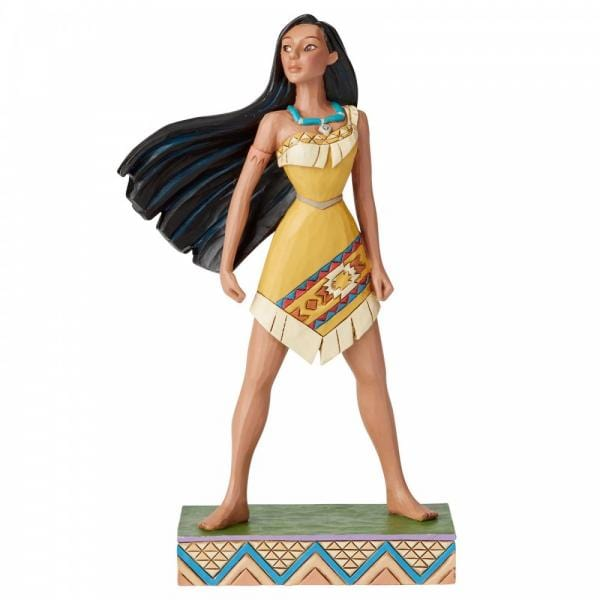 Disney Pocohontas figurine standing with legs apart and her long blavk hair is blowing in the wind