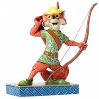 Disney Robin Hood figurine is holding a bow and is listening to some noise with his hand to his ear