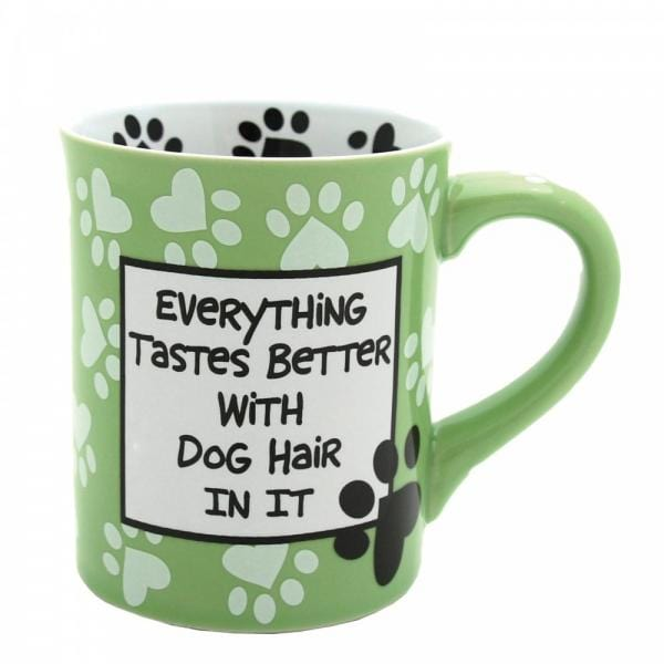 Fathers day Birthday Gift Mug Birthday present Presents its a green mug with white paws and  saying Everything tastes better with dog hair in it