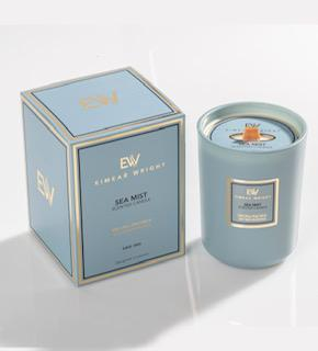 This candle is in a light blue box and the fragrance designed in Ireland by Eimear Wright has a wood wick