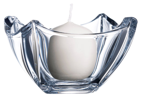 Small glassware bowl with votive candle