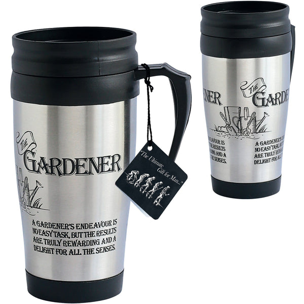 Gardeners Travel Mug suitable for Fathers day or Birthday present .  The picture shows a silver travel mup with handle and humorous garden  messages.