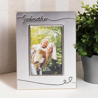 Silver Plated Godmother Frame with 2 hearts