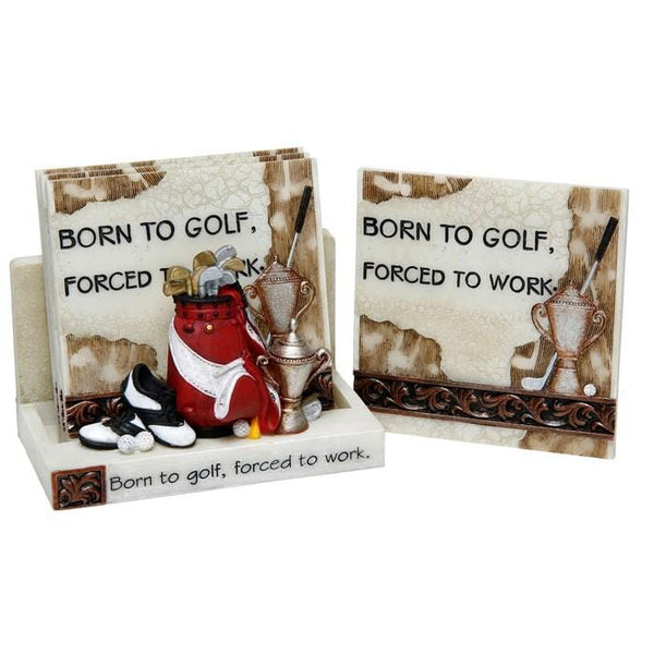 Colourful golf themed coasters with the message born to golf, forced to work, sowing golf bag, golf shoes club and trophies Men's Gift for him fathers day Golf Golfer Carousel Gifts naas co kildare Ireland