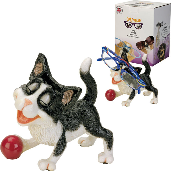 Picture shows a novelty Cat glasses/Spec holder, in close-up and further back with a pair of glasses, it also shows the elegant packaging