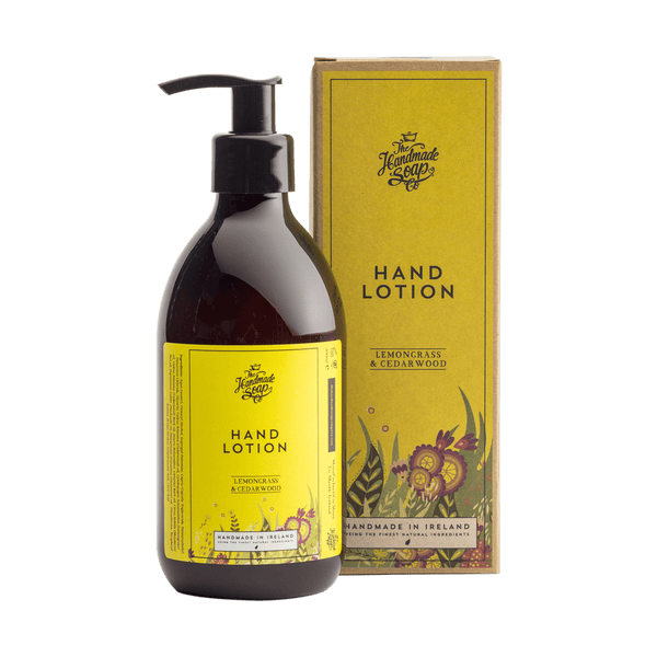 Picture shows a bottle of Hand Lotion with packaging. Fragrance is Lemongrass & Cedarwood. This product is made in Ireland from purely natural ingredients. Nourish and protects sensitive skin. 100% recycled bottle.