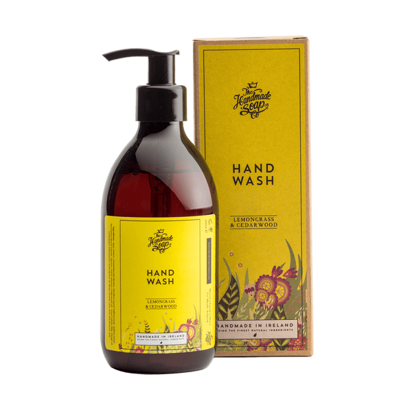 Picture shows a bottle of hand wash.  with packaging.  Fragrance is Lemongrass & Cedarwood.  This product is made in Ireland from purely natural ingredients. Nourish and protects sensitive hands 100% recycled bottle